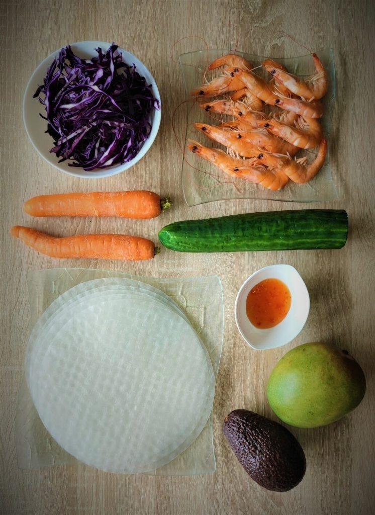 recette de rouleaux de printemps aux crevettes et mangue
