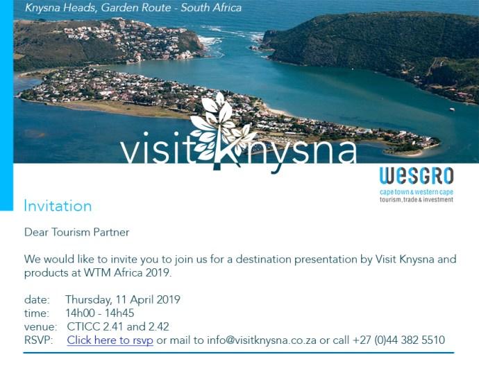 Visit Knysna WTM Africa 2019 media presentation Destination Garden Route