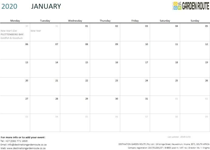 Destination Garden Route - Events & Festivals January 2020
