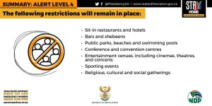 Destination Garden Route - Summary lockdown Level 4