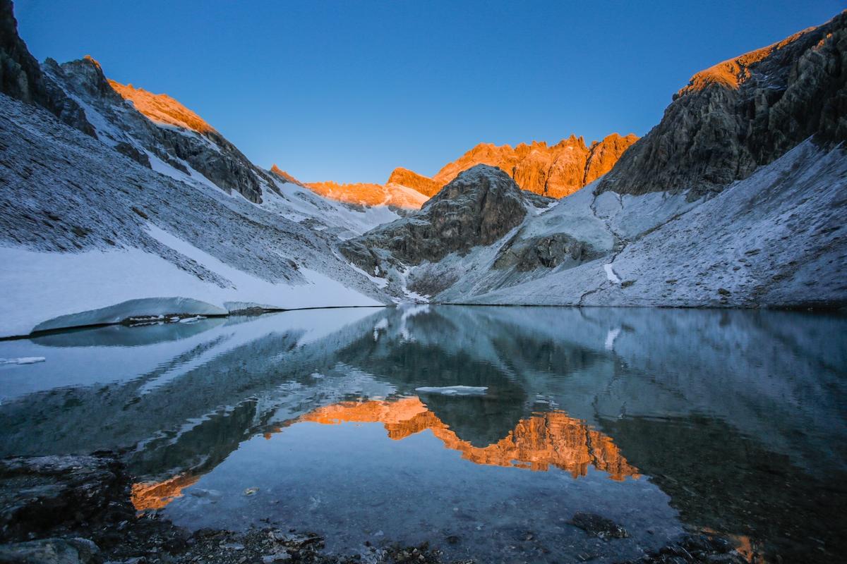 Lac des beraudes première neige