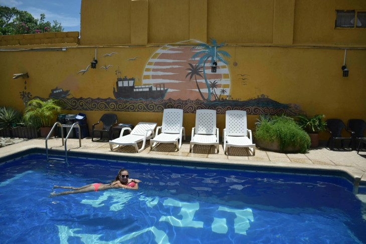 Taganga, Colombia has amazing hostels with pools