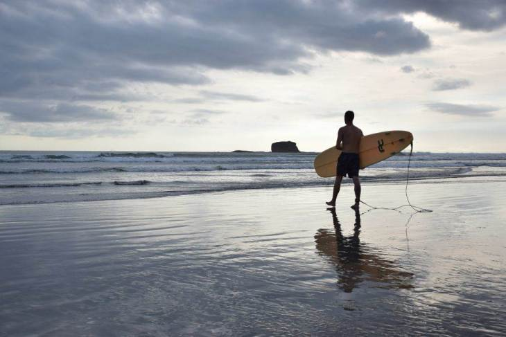 Learning to surf in San Juan del Sur