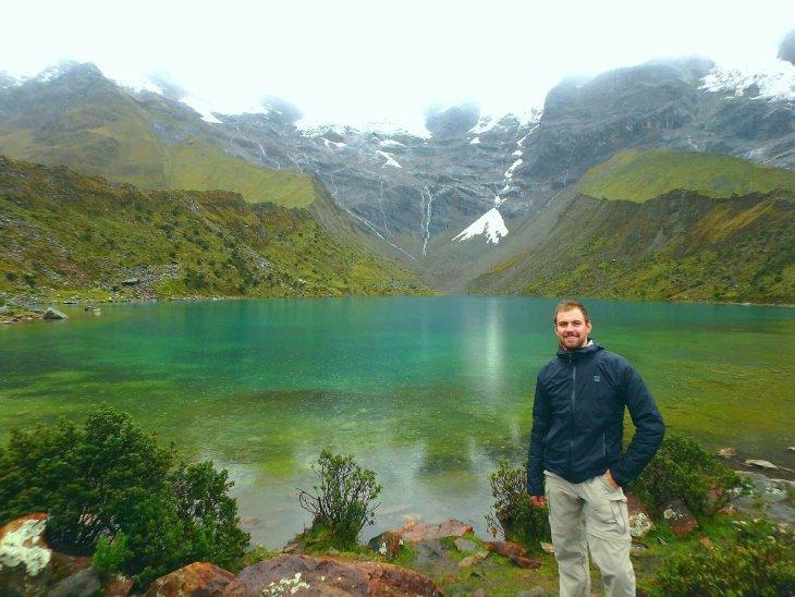 a lake on the salkantay hiking in peru