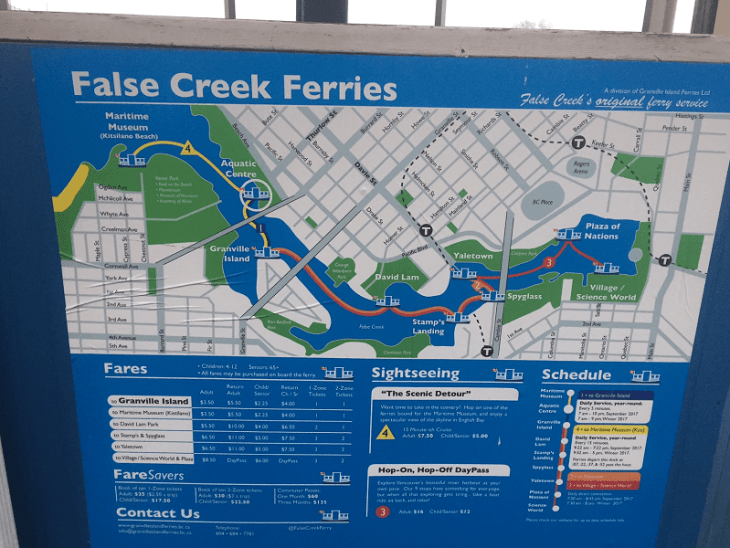 take the ferry to Granville island in vancouver in winter
