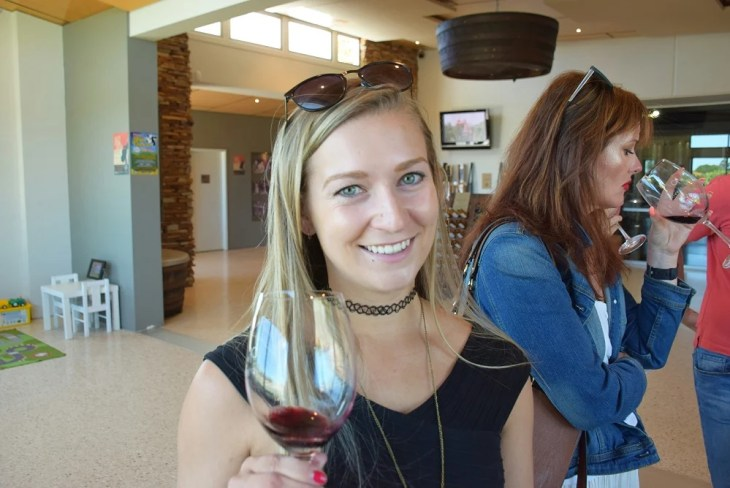sampling wine in the swan valley