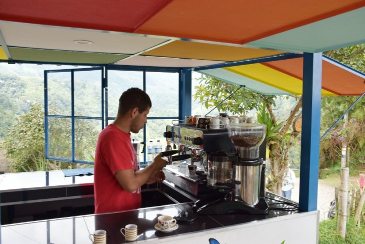 getting a coffee on our tour of the coffee farm