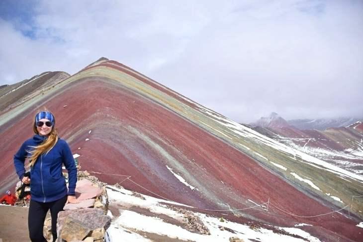 climbing rainbow mountain near cusco