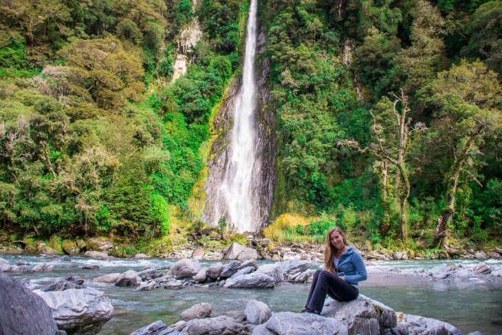 Thunder creek Falls is only 20 km from the Blue Pools, New Zealand