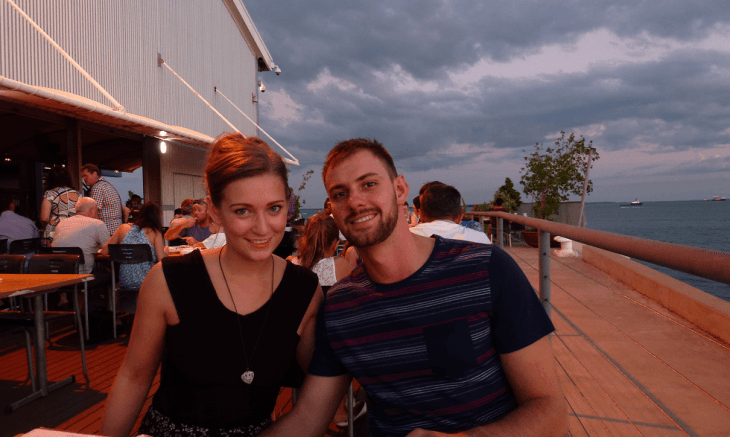 dinner at Stokes Hill Wharf in Darwin