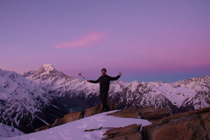 the sunset from the mueller hut hike