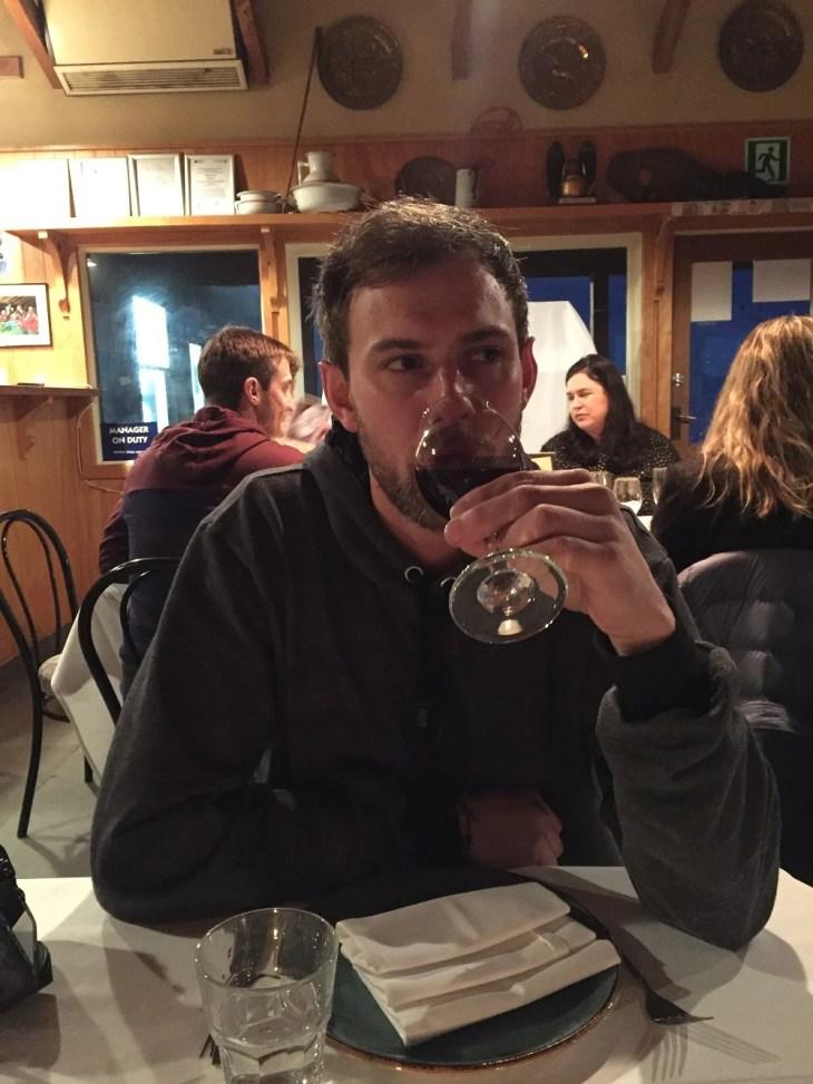 daniel enjoying some wine