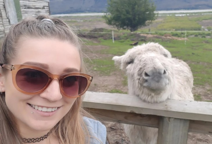 selfie with a donkey at the glenorchy petting zoo