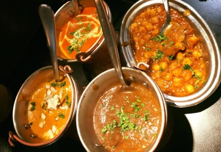 selection of curries at boliwood