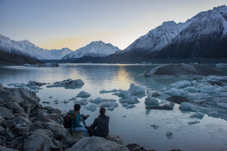 tasman lake in mount cook national park is gorgeous