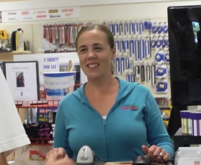 Picture of Sarah working at Hancock Lumber.