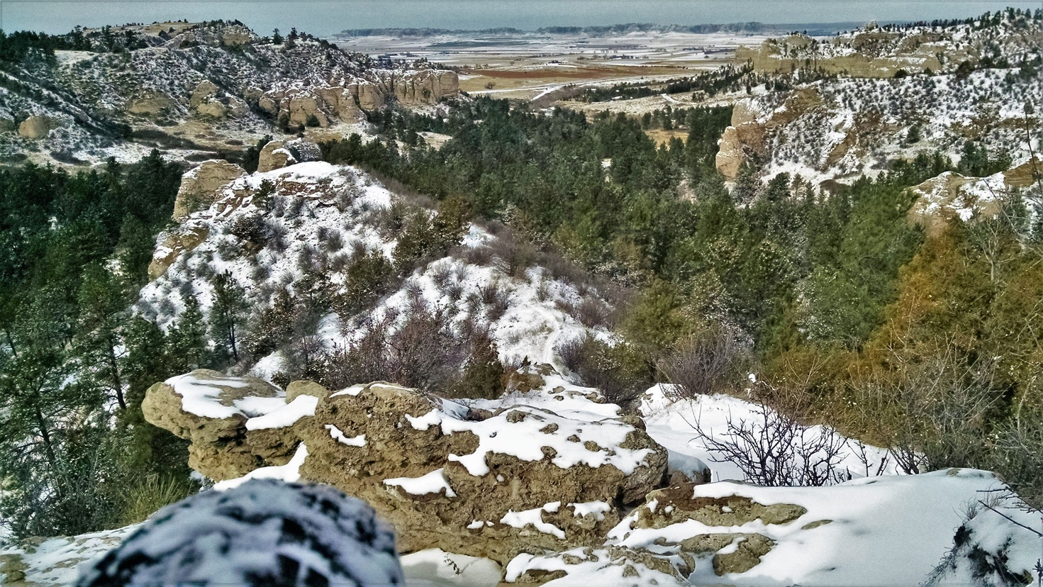 In the Wildcat Hills -- see the Scottsbluff Monument out in the distance?