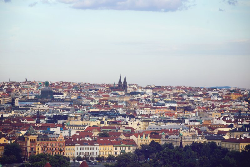 One of the best views of Prague Castle and the city is from Petrin Hill Tower