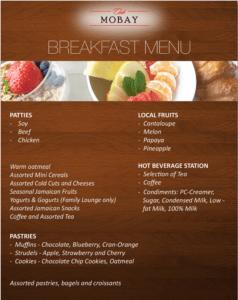 Club MoBay Breakfast Menu