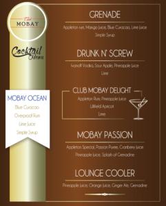 Club MoBay Cocktail Menu