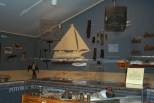 Exhibits about life on the water in the Potomac River Room at the St. Clement's Island Museum