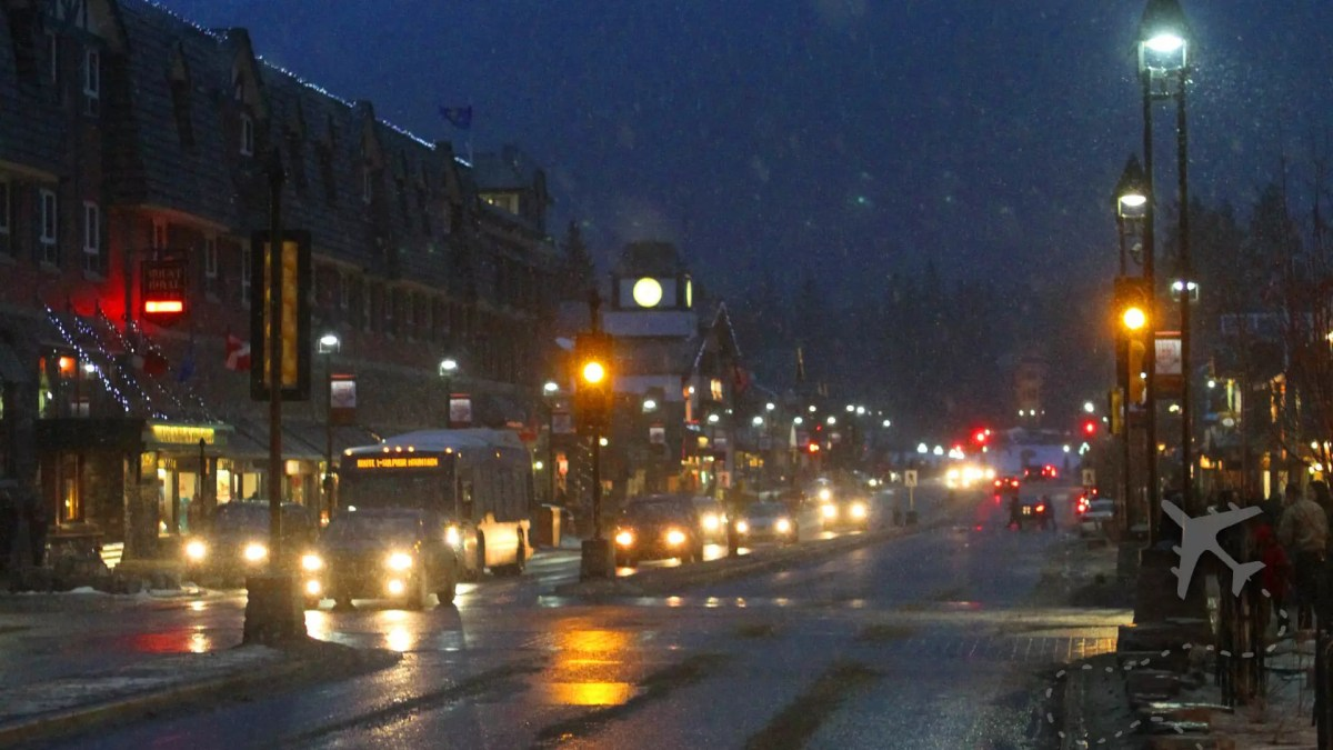Downtown Banff in the winter