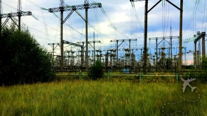 High voltage transmission lines at Chornobyl Power Plant
