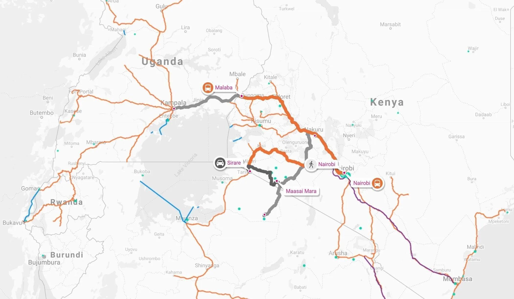 Crossing between Kenya and Uganda by road; best way to travel to uganda