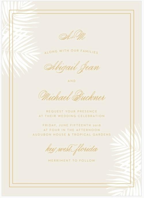Foil Palm Frond Destination Wedding Invitation