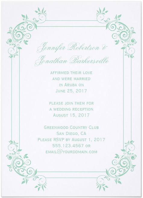 Vine Post Wedding Reception Invitations