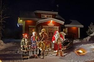 Santa and His Elves Outside Santa's Resort