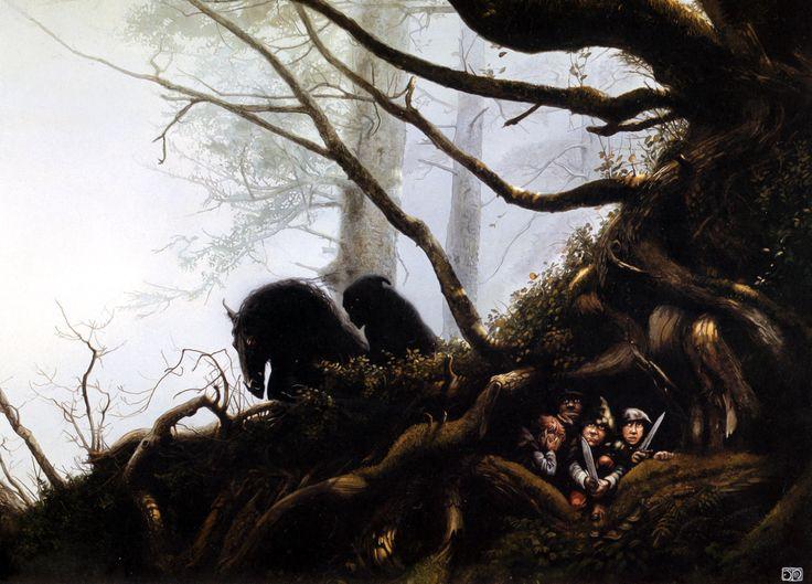 Acecho de un espectro del Anillo a los Hobbits Frodo, Sam, Merry y Pippin a las afueras de la Comarca - Ilustración de John Howe -