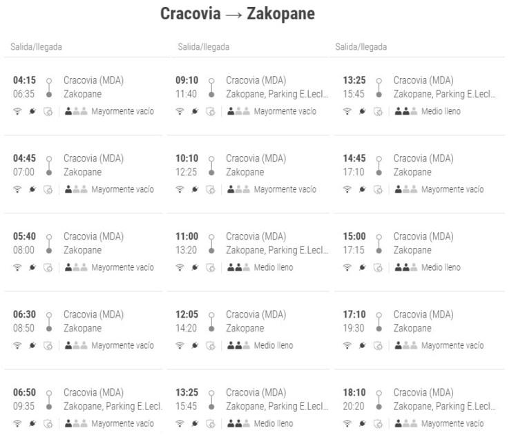 Bus de Cracovia a Zakopane