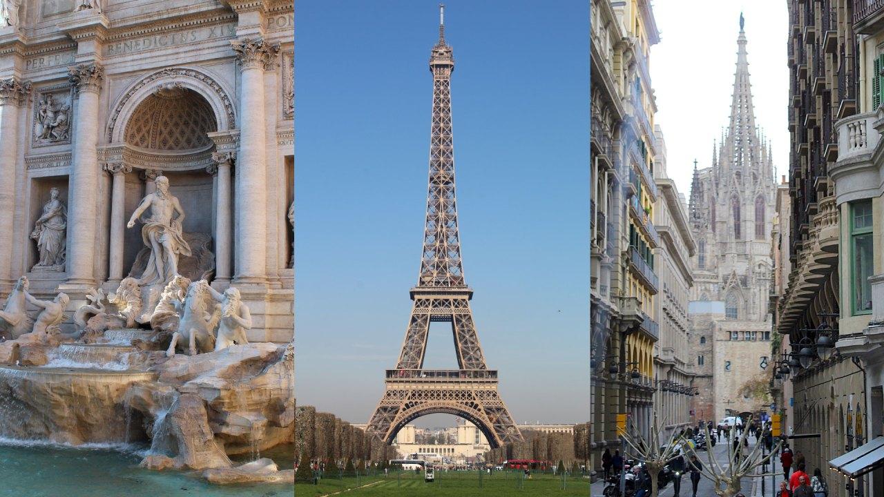 Flight Network revela The World'S 50 Most Beautiful Cities, su listado de las 50 ciudades más hermosas del mundo como Roma con su Fontana Di Trevi, París con su Torre Eiffel, y Barcelona con su Basílica de la Sagrada Família