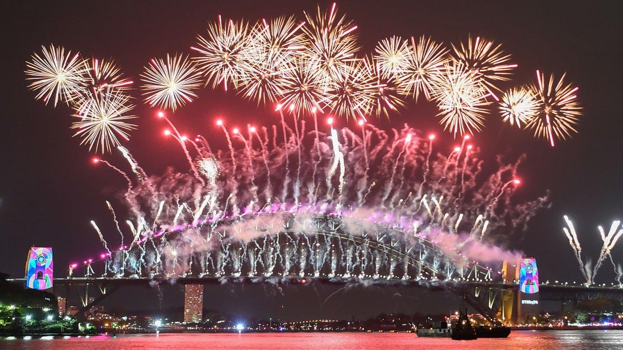 Celebración de Año Nuevo en la Bahía de Sídney, Australia