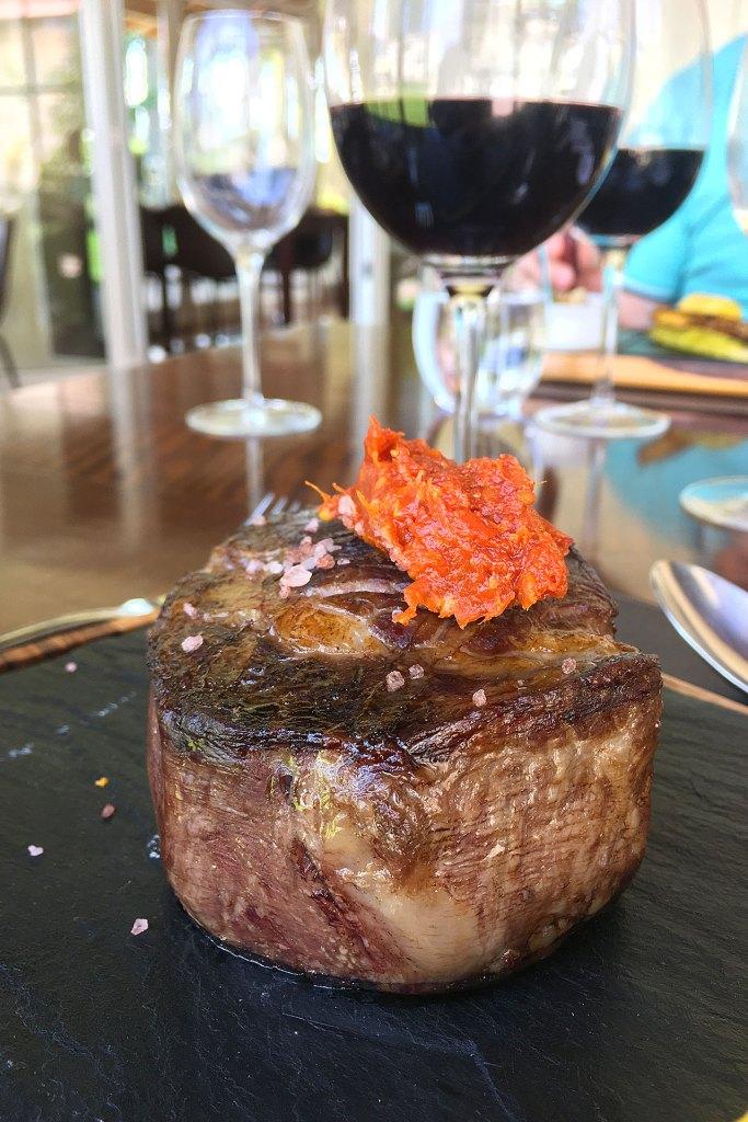 Ojo de bife a las brasas en Casa Terrazas de los Andes