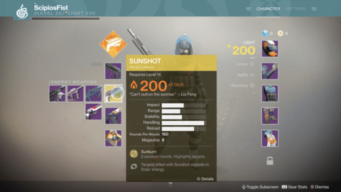 Sunshot, Sweet Business, and Riskrunner – Some of the Exotic Weapons in Destiny 2