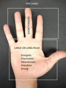 fire hand shape, palmistry fire hand, long palm, short fingers, handanalysis from hand shape