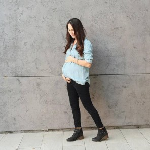 Black Denim + Chambray Top