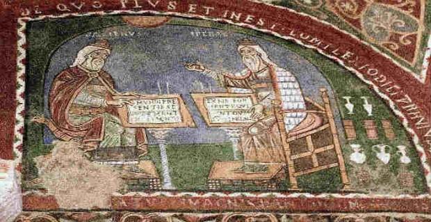 Γαληνός και Ιπποκράτης, ιταλική τοιχογραφία