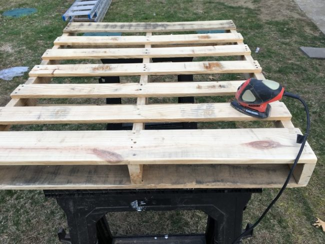 "He still needed a top pallet! This one was made from other pallets -- <a href=""https://www.reddit.com/user/bluepied"" class=""author may-blank id-t2_b0em3"" target=""_blank"">bluepied</a> didn't want any warping in the wood."