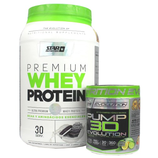 STAR NUTRITION COMBO WHEY PROTEIN + PUMP 3D