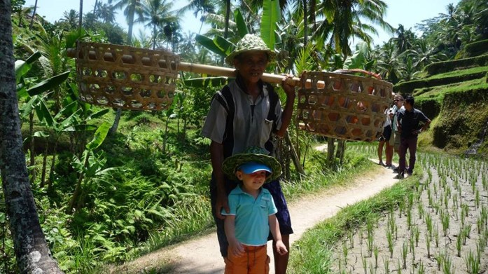 Kyan avec un riziculteur, Tegalalang, Ubud