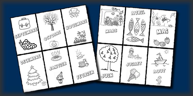 Les mois de l'année pour le cahier de vie – Maternelle