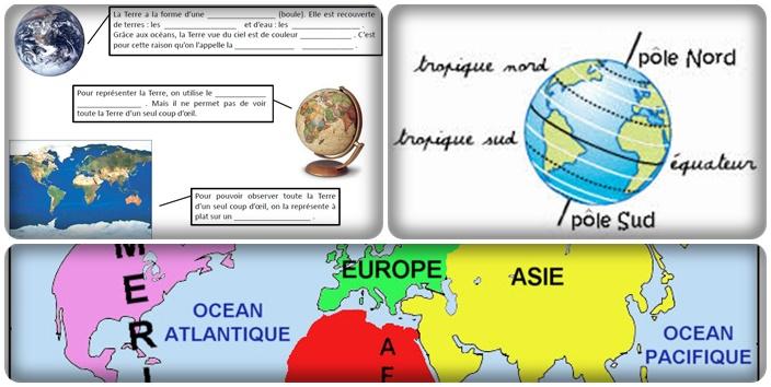 Différentes représentations de la Terre - Continents et océans