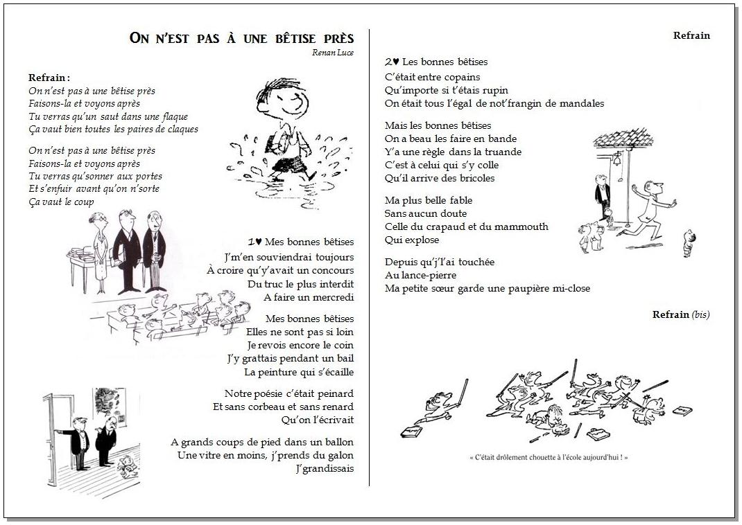Chant – On n'est pas à une bêtise près – Renan Luce