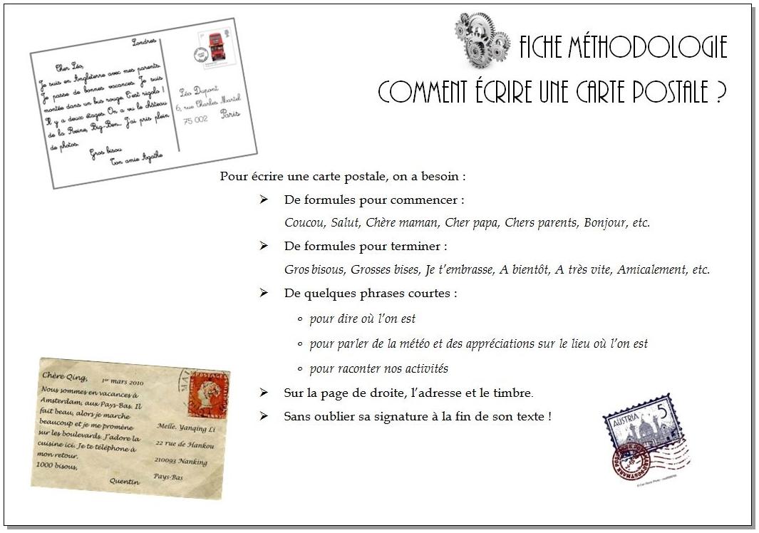 Écrire une carte postale – CM1/CM2