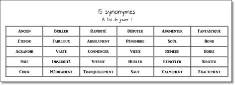 Les synonymes - CM1/CM2