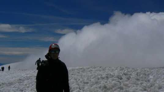Moi au sommet du Volcan Villarica à Pucon Chili