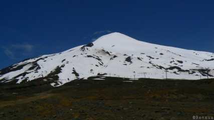 Vue du Volcan Villarica du bas des pistes